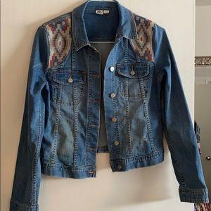 Roxy Denim Jacket Size Medium with Aztec Detail